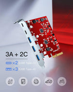 Load image into Gallery viewer, PCIe to USB 3.2 Gen 2 Card with 20 Gbps Bandwidth, 3 USB Type-A and 2 USB Type-C Ports, KU5211, Red