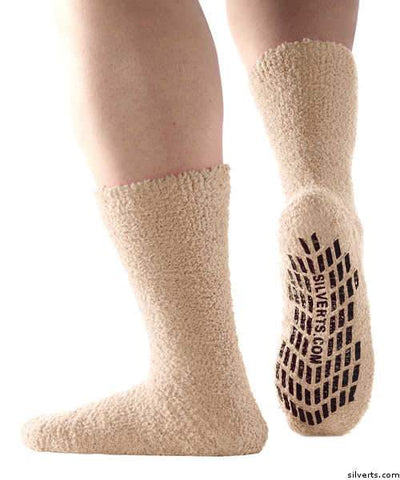 Hospital Socks - Non Skid / Anti Slip Grip Socks For Women / Mens Non Slip Socks - Fuzzy Gripper Socks - Regular Size & Xl Bariatric - gloriiiluxe-adaptive