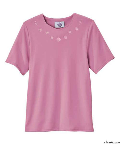 Adaptive Cotton T-Shirt For Women - Home Care Apparel - Back Snap Adaptive Tops - gloriiiluxe-adaptive
