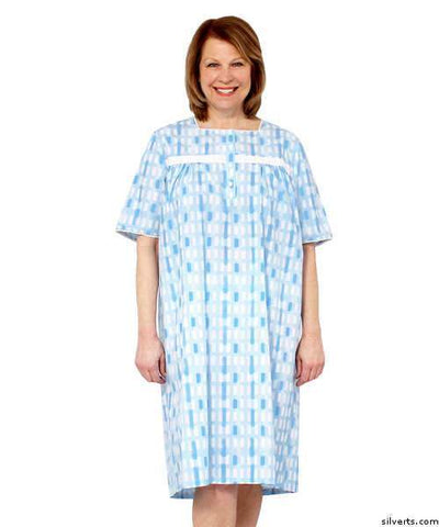 Pretty Cotton Summer Hospital Nightgown - Wrap Back Gowns - gloriiiluxe-adaptive