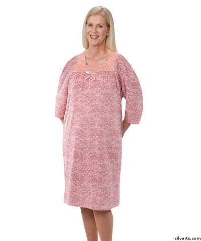 Womens Cotton Knit Adaptive Hospital Patient Gowns - Nursing Home Nightgowns - Back Snap Night Gowns - gloriiiluxe-adaptive