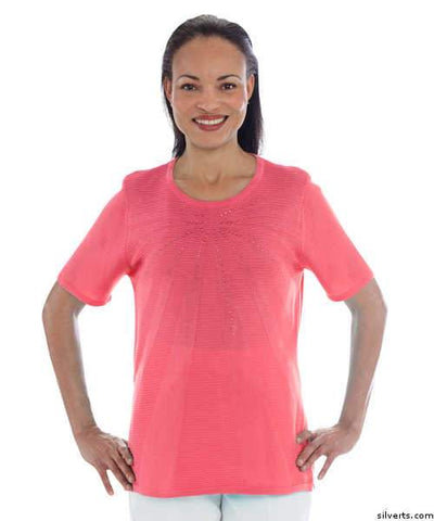 Womens Attractive Mature Fashions Fancy Knit Top - Short Sleeve - Round Neck - gloriiiluxe-adaptive