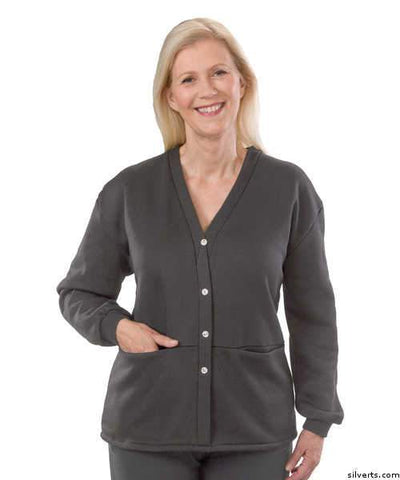 Womens Open Back Adaptive Fleece Cardigan With Pockets - gloriiiluxe-adaptive