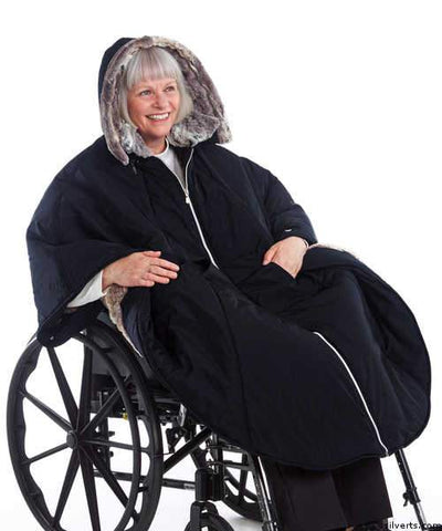 Stylish Wheelchair Cape For Women - Winter Warmth Cape - Luxurious Fur-Lined Cape - gloriiiluxe-adaptive
