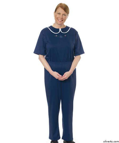 Womens Adaptive Alzheimers Clothing Anti Strip Suit Jumpsuit - Anti Disrobing Suits - Adult Top & Pant Onesie - gloriiiluxe-adaptive