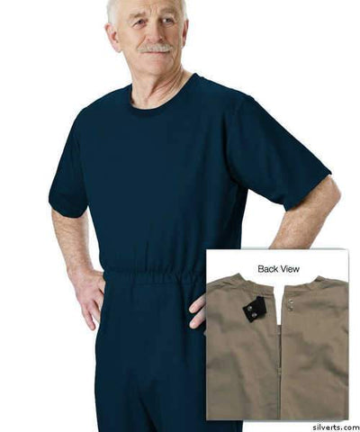 Mens' Alzheimers Clothing - Alzheimer's Anti-Strip Jumpsuit - Extra Tear Resistant - Adult Onesie Up To 3 Xlarge - gloriiiluxe-adaptive