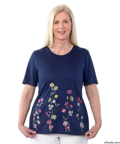 Floral Embroidered Adaptive Open Back T Shirt Top For Women - Women's Adaptive Dressing At It's Best ! - gloriiiluxe-adaptive