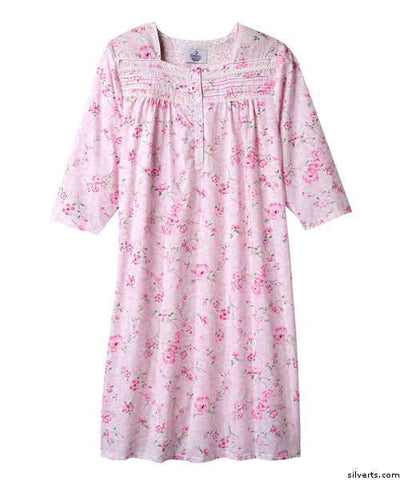 Pretty Cotton Hospital Nightgown - 3/ 4 Long Sleeve Hospital Gowns For Women - gloriiiluxe-adaptive