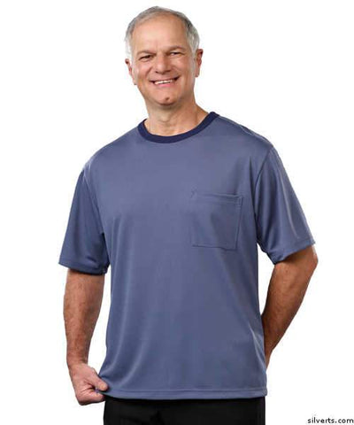 Adaptive Tshirt Top For Men - Disabled Adults - Back Snap Shirts - gloriiiluxe-adaptive