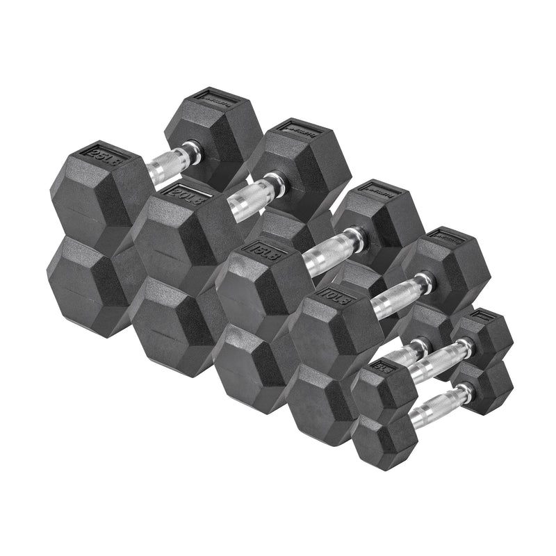 Lifeline Hex Rubber Dumbbell Set - 150 LBS_1