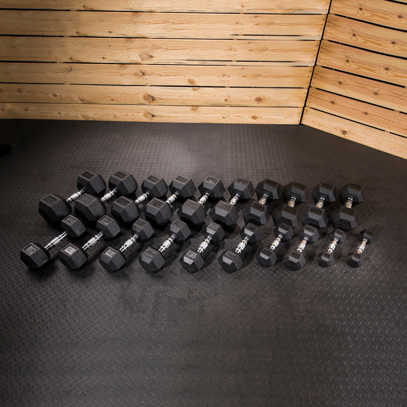 Lifeline Hex Rubber Dumbbell Set - 550 LBS_1