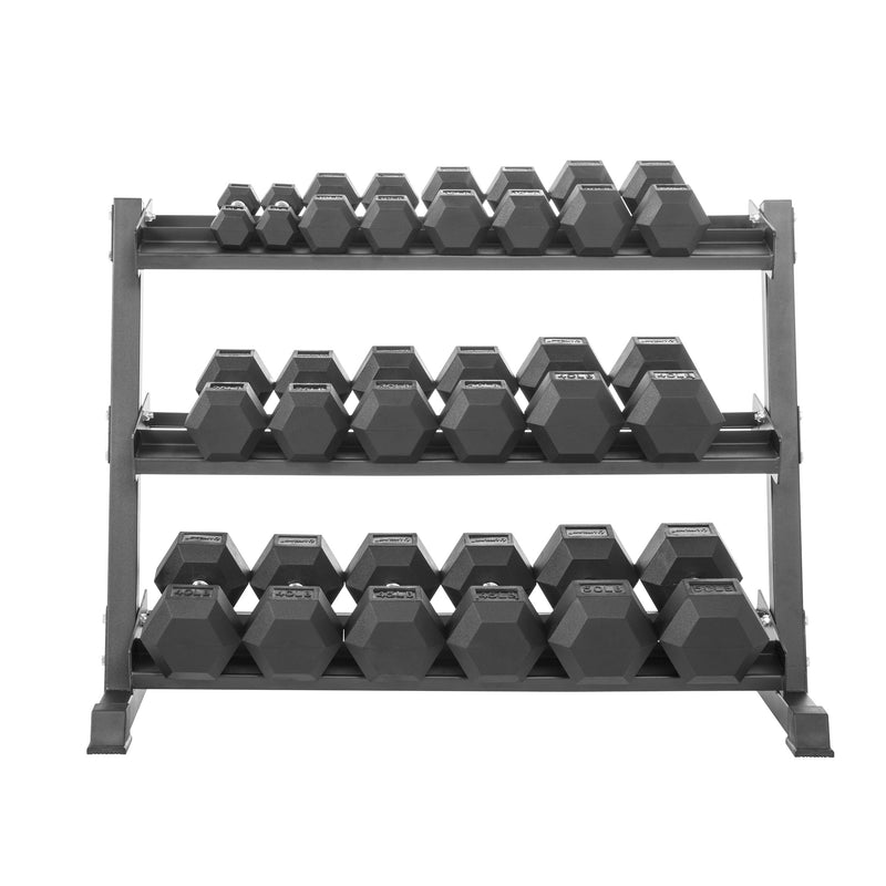 Lifeline HEX RUBBER DUMBBELL SET W/RACK - 550LB_7