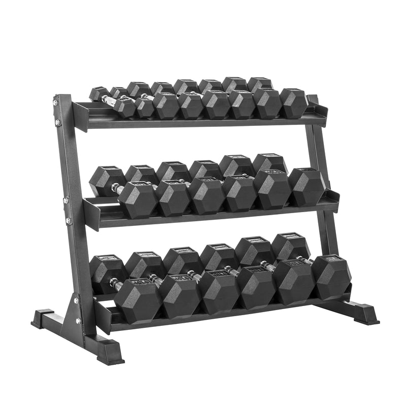 Lifeline HEX RUBBER DUMBBELL SET W/RACK - 550LB_9