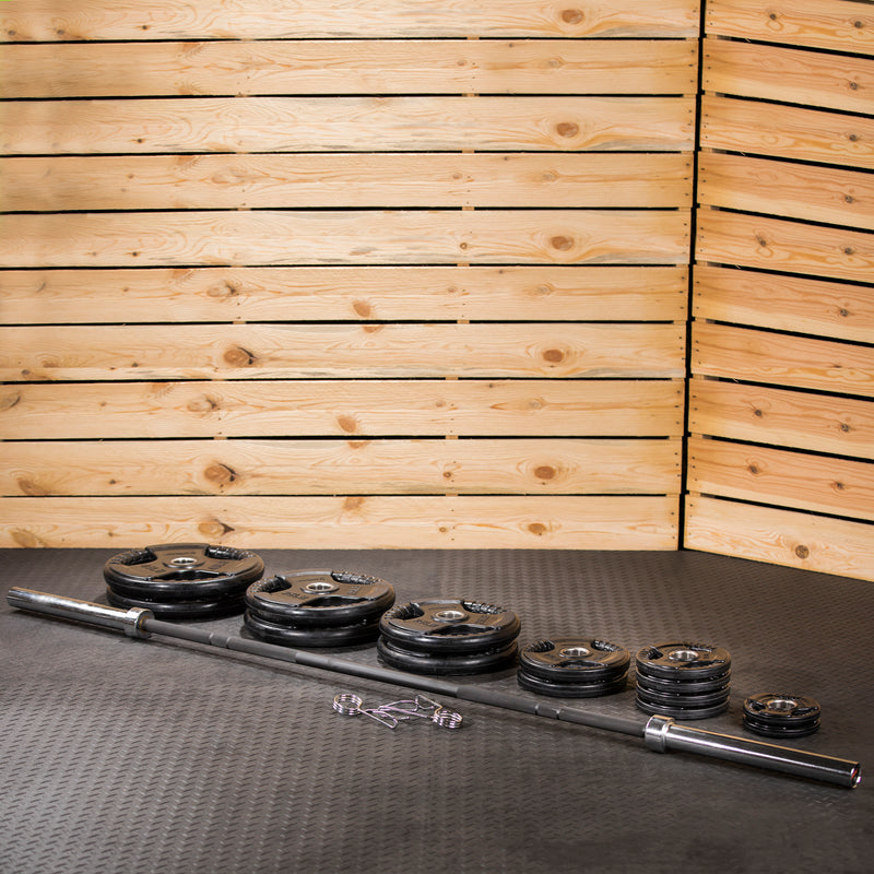 Lifeline Olympic Rubber Grip Plate Set - 300 LBS_7