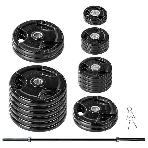 Lifeline Olympic Rubber Grip Plate Set - 500 LBS_1