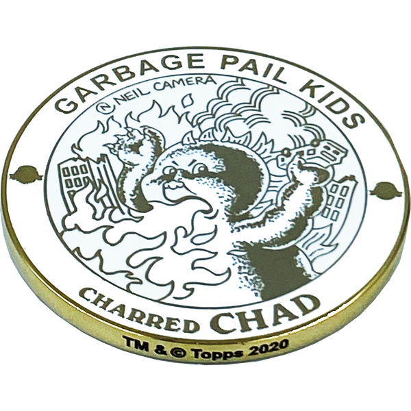 GPK-AA-005 CHARRED CHAD Topps Officially Licensed Neil Camera Artist Collaboration GPK Challenge Coin Garbage Pail Kids