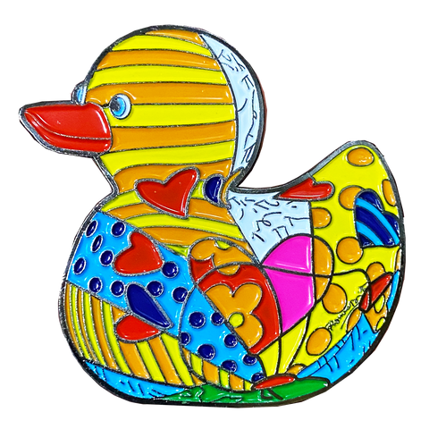 "Romero Britto ""Sugar Duck"" Officially Authorized Pin Pop Art Duckling Rubber Ducky"