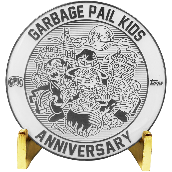 Coin 002 Nickel plated white cloisonné Topps Officially Licensed challenge coin Garbage Pail Kids GPK Nation