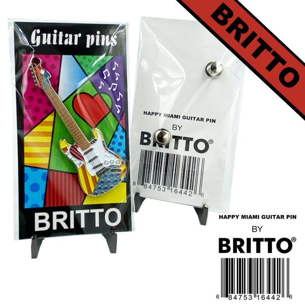 "Romero Britto ""Happy Miami"" Officially Authorized Guitar Pin"