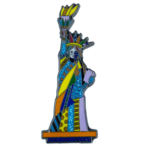 "Romero Britto ""Lady Love"" Officially Authorized Pin Pop Art Statue of Liberty inspired"