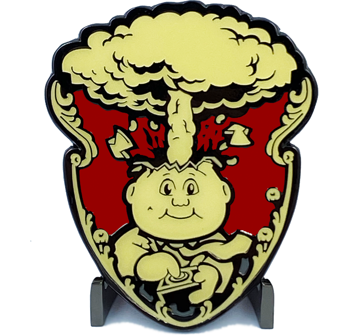 Red 3M GPK Emblem Ornament set with peel and stick Adhesive back Topps Officially Licensed