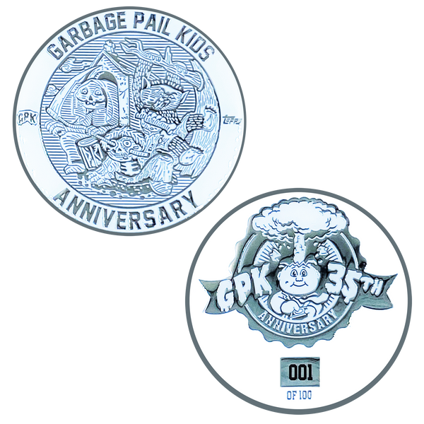 Coin 001 Nickel plated white cloisonné Topps Officially Licensed challenge coin Garbage Pail Kids GPK Nation