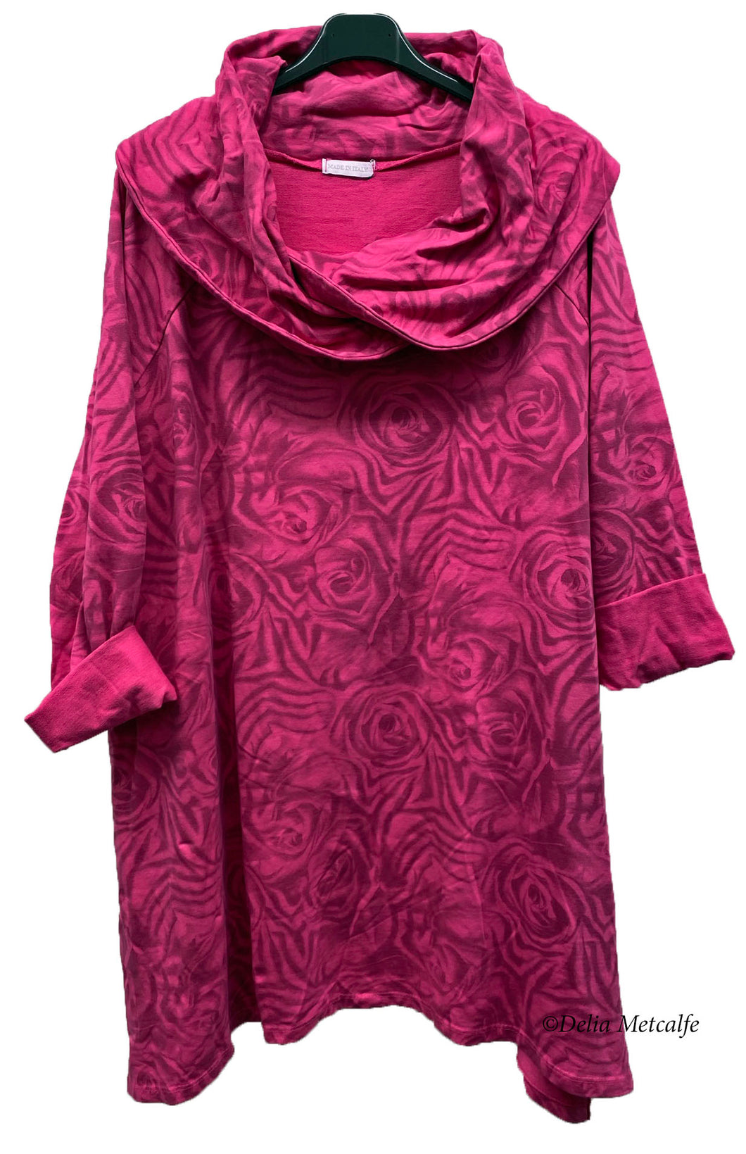 Rose Print Cowl Neck Tunic