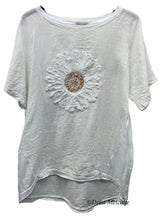 Load image into Gallery viewer, Ruffle Flower Linen Front Top