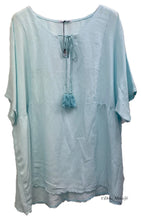 Load image into Gallery viewer, Linen Tassel Neck Top