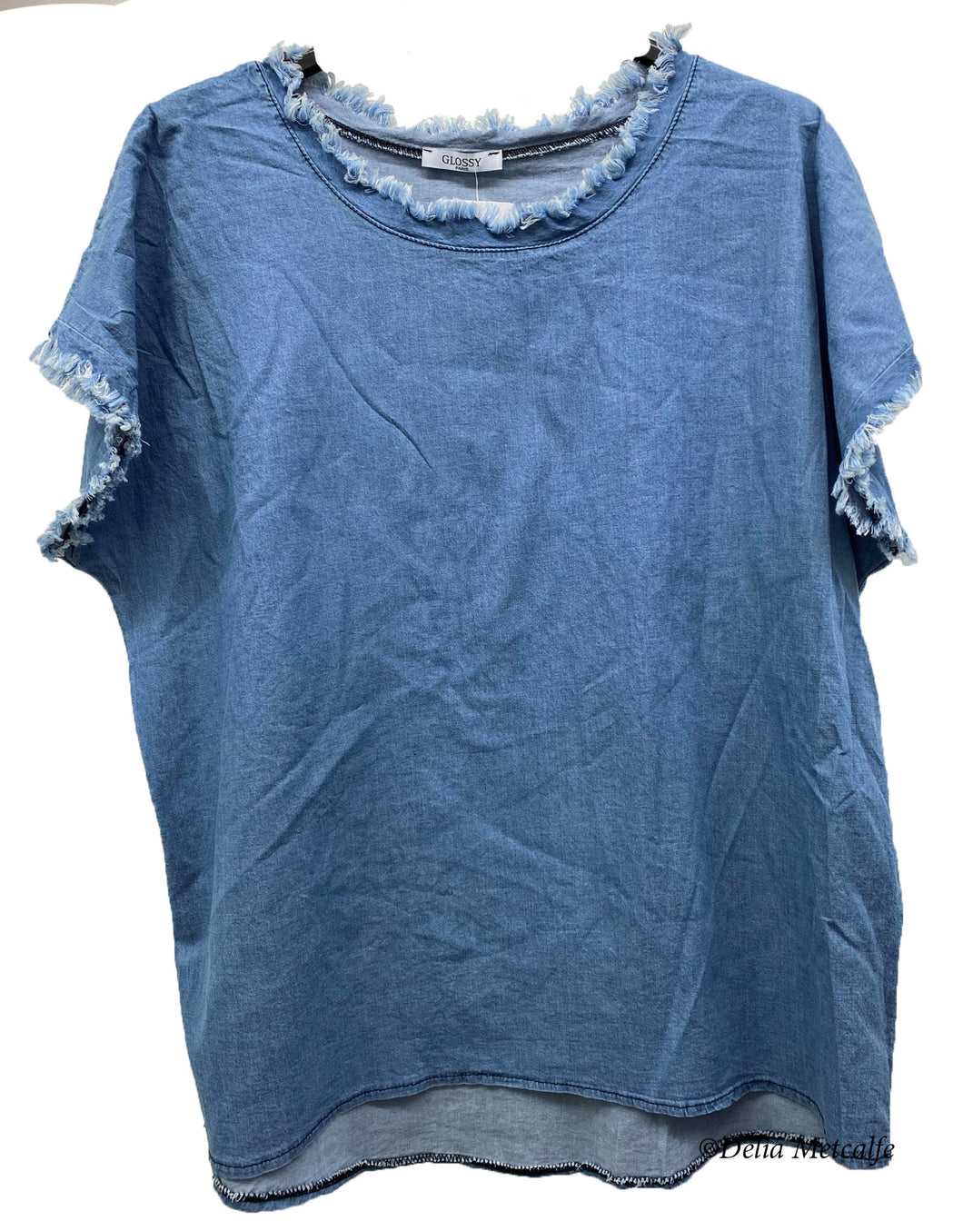 Denim Fray Detail Cotton Top