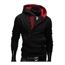 Load image into Gallery viewer, Hoodies Laamei Men Fashion Oblique Zipper Patchwork Tracksuit Sweatshirt Men's Collar Cap Long Sleeves Pullover Plus Size M-3XL