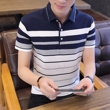 Load image into Gallery viewer, Summer Short Sleeves Harajuku Korea Fashion Striped Polo Shirts Men'S Top Tees Clothes