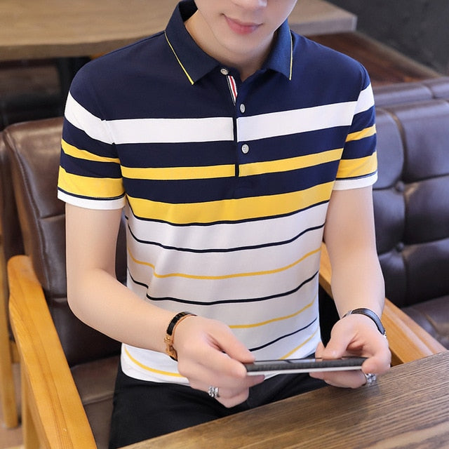 Summer Short Sleeves Harajuku Korea Fashion Striped Polo Shirts Men'S Top Tees Clothes