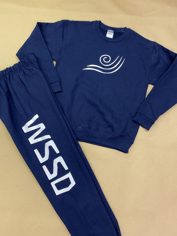 IN STOCK - Youth L - Navy Fleece Crew Neck - Vinyl