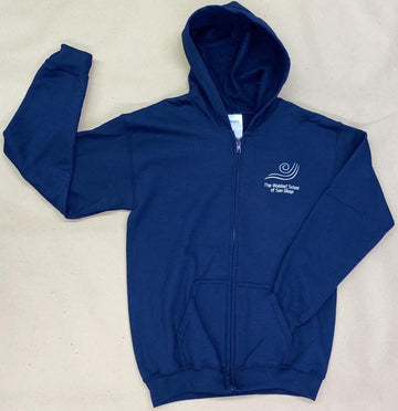 IN STOCK - Adult & Youth - Navy Fleece Zip Up Hoodie - Embroidery