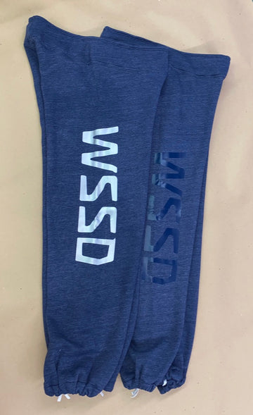 IN STOCK - Adult - Heather Navy Fleece Custom Sweatpants - Vinyl