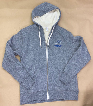 IN STOCK - Adult M - Grey Sherpa Lined Zip Up Hoodie - Embroidery