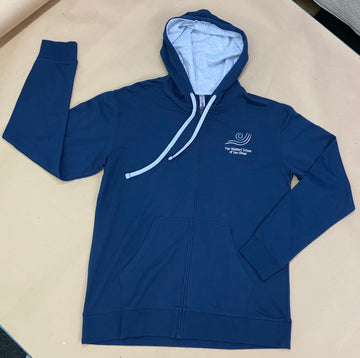 IN STOCK - Adult M - Navy French Terry Zip Up Hoodie -  Embroidery