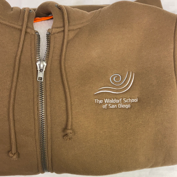 IN STOCK - Adult L - Brown Sherpa Lined Zip Up Hoodie - Embroidery