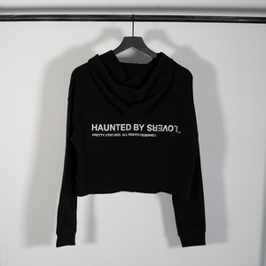 WOMEN'S 3M REFLECTIVE 'LOVERS' CROP HOODIE - BLACK