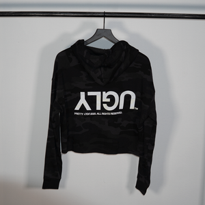 WOMEN'S 'UGLY' CROP HOODIE - BLACK CAMO