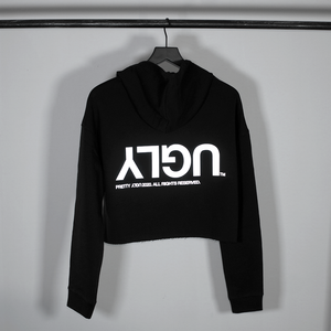 WOMEN'S 3M REFLECTIVE 'UGLY' CROP HOODIE - BLACK