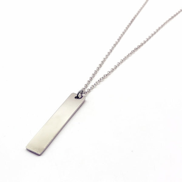 New Black Rectangle Pendant Necklace Men Trendy Simple Stainless Steel Men's necklace collana Kolye Bijoux Collar collier homme