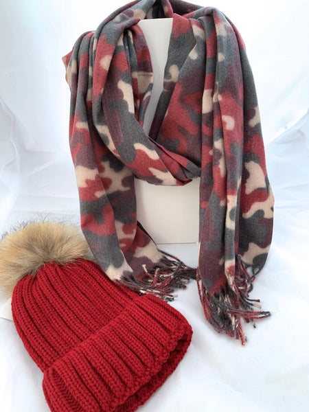 Camouflage Scarf and Hat Set