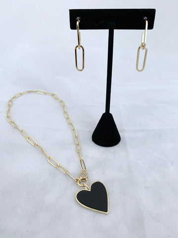 Paperclip Chain, Heart Charm and 2 Link Earring Set