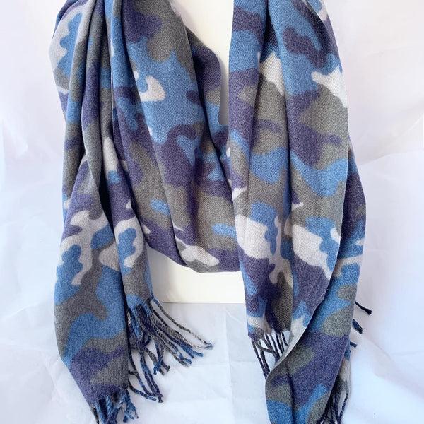 Camouflage Cashmere Feel Scarf with Fringe