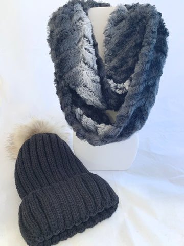 Faux Fur Infinity Scarf and Hat Set