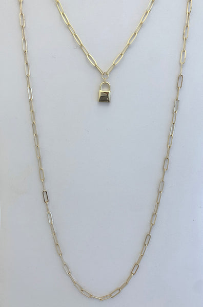 Paperclip Necklaces with Padlock and Lock and Key Earring Set