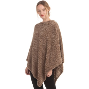 Wave Pattern Solid Faux Fur Poncho
