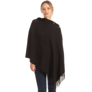 Side Snap Poncho with Fringe Detail